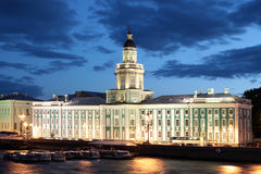 Saint-Petersburg. The anatomy museum building in the white night Royalty Free Stock Photos