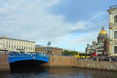 Saint-Petersburg, Blue bridge on the river Moika Royalty Free Stock Images