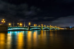 Saint-Petersburg. The bridge over the river Neva. Autumn 2013. Russia. Saint-Petersburg. The bridge over the river Neva at night royalty free stock images