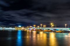 Saint-Petersburg. The bridge over the river Neva. Autumn 2013. Russia. Saint-Petersburg. The bridge over the river Neva at night Royalty Free Stock Image