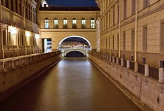 Saint Petersburg Canal at Night Royalty Free Stock Photo