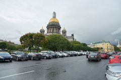 Saint Petersburg. CIRCA OCTOBER, 2017: Isaakievskiy Sobor in  at daytime. It is the largest Russian Orthodox cathedral (sobor) in the city Royalty Free Stock Images