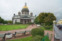 Saint Petersburg. CIRCA OCTOBER, 2017: Isaakievskiy Sobor in  at daytime. It is the largest Russian Orthodox cathedral (sobor) in the city Royalty Free Stock Photos