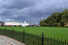 Saint Petersburg city landscape, ancient buildings, road stock images