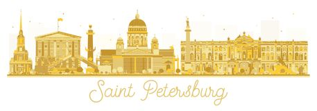 Saint Petersburg City skyline golden silhouette. Vector illustration. Business travel concept. Saint Petersburg Cityscape with landmarks Stock Photos