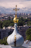 Saint Petersburg cityscape with clouds, trees, avenues from a summit of Smolniy cathedral Stock Photos