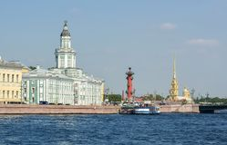 Saint Petersburg cityscape with Kunstkamera museum, Rostral column and Peter and Paul fortress, Russia royalty free stock image