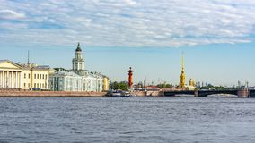 Saint Petersburg cityscape with Kunstkamera and Peter and Paul fortress, Russia stock images