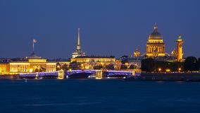 Saint Petersburg cityscape at night, Russia royalty free stock photography
