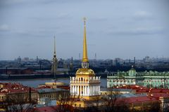 Saint Petersburg cityscape viewed. Cityscape and Admiralty viewed from the St. Isaac's Cathedral, Saint Petersburg city, Russia Stock Image