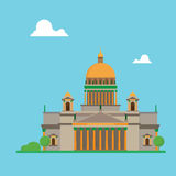 Saint Petersburg flat design Isaac cathedral with clouds Royalty Free Stock Photos