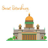 Saint Petersburg flat design Isaac cathedral with lettering Royalty Free Stock Photos