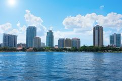 Saint Petersburg, Florida, buildings cityscape along the blue water of Tampa Bay royalty free stock images
