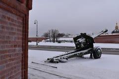 Saint Petersburg gun winter Museum Royalty Free Stock Photos
