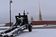 Saint Petersburg gun winter Museum Royalty Free Stock Images