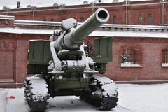 Saint Petersburg gun winter Museum Royalty Free Stock Photo