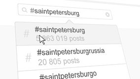 Saint Petersburg hashtag search through social media posts. 3D rendering. Saint Petersburg hashtag search through social media posts Stock Photography