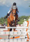 SAINT PETERSBURG-JULY 05: Rider Gunnar Klettenberg on Lanse S in Royalty Free Stock Image