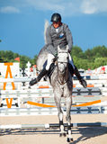 SAINT PETERSBURG-JULY 05: Stasys Jasas on Patrol V in the CSI3*- Royalty Free Stock Photography