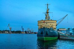 SAINT PETERSBURG - JUNE 14, 2015: Arctic icebreaker Krassin in St.Petersburg. It was built for the Imperial Russian Navy and is now a museum Royalty Free Stock Photo