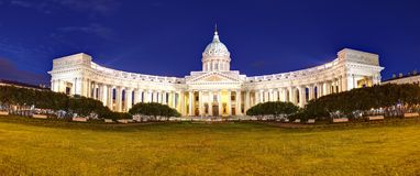 Saint Petersburg, Kazan cathedral at night, Russia royalty free stock photography
