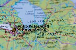 Saint Petersburg on map Stock Photos