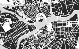 Saint Petersburg maps. Vector map of the center of Saint Petersburg black and white Royalty Free Stock Images