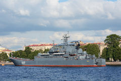 Saint Petersburg, military ship on Neva Stock Photos