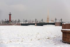 Saint Petersburg Neva river landscape winter Stock Image