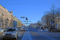 Saint Petersburg. Nevsky Prospect in the winter day. Saint Petersburg. Perspective of the Nevsky Prospect in the winter day Royalty Free Stock Image