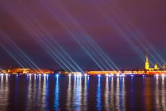 Saint Petersburg. night  drawbridge. Illuminated night river neva water old drawbridge beautiful landscape city saint petersburg Stock Photos