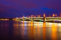 Saint Petersburg. night  drawbridge. Illuminated night river neva water old drawbridge beautiful landscape city saint petersburg Stock Photography