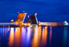 Saint Petersburg. night  drawbridge. Illuminated night river neva water old drawbridge beautiful landscape city saint petersburg Royalty Free Stock Image