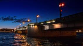 Saint Petersburg, night view of the Troitsky Bridge with illumination. Saint Petersburg, Russia, night view of the Troitsky Bridge with illumination stock footage