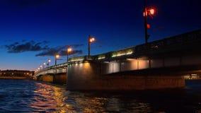 Saint Petersburg, night view of the Troitsky Bridge with illumination. Saint Petersburg, Russia, night view of the Troitsky Bridge with illumination stock video footage