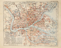 Saint Petersburg old map Stock Photos