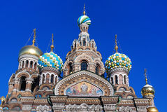 Saint Petersburg. The Orthodox Temple of the Resurrection (Savior-on-Spilled-Blood). Saint Petersburg. View of the tops of the Russian style Orthodox Temple of Stock Photography