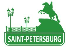 Saint-Petersburg outline Stock Images