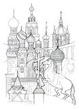 Saint Petersburg outline drawing. Abstract combination of city landmarks Royalty Free Stock Images