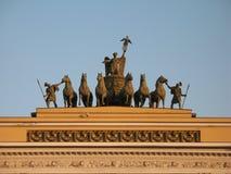 Saint-Petersburg, Palace Square (Dvortsovaya Ploshchad). Palace Square (Dvortsovaya Ploshchad) General Staff Building sculpture Saint-Petersburg, Russia Stock Photography
