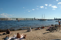 Saint-Petersburg. Peter and Paul fortress beach. The most famous beach of the Peter is Peter and Paul fortress beach. For the unspoiled of the sun residents of Stock Photos