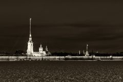 Saint Petersburg Peter Paul fortress night Stock Images