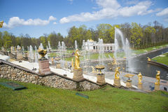 SAINT PETERSBURG, PETERGOF, RUSSIA - May 9, 2015: Fountains of Lower Gardens, Sea Canal in Peterhof, near Saint Petersburg. Fountains of Peterhof are one of Stock Photo