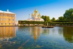 saint petersburg Peterhof fontanny i statuy Obrazy Royalty Free