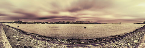 Saint petersburg port panorama Royalty Free Stock Photos