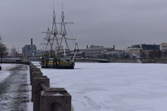 Saint Petersburg promenade winter sailboat ice royalty free stock photo