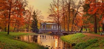 Marble bridge, Pushkin in the autumn dawn Royalty Free Stock Photography