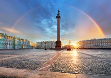Saint Petersburg with rainbow over winter palace square, Russia royalty free stock photography