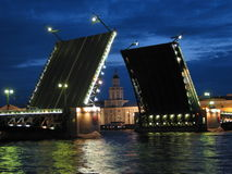 Saint Petersburg Raised Bridge. The raised bridge on Neva river in Saint Petersberg in July Stock Photo