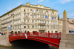 Saint Petersburg, the Red bridge on the river Moika Royalty Free Stock Image